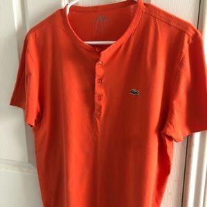 Orange Lacoste Henley t-shirt